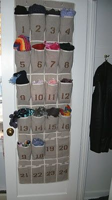Scarf storage on the door idea
