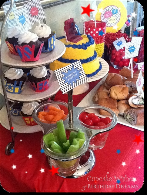 superhero food: Parties Plans, Heroes Food, 5Th Birthday, Superhero Parties, Parties Ideas, Heroes Sandwiches, Super Heroes, Heroes Parties, Birthday Ideas