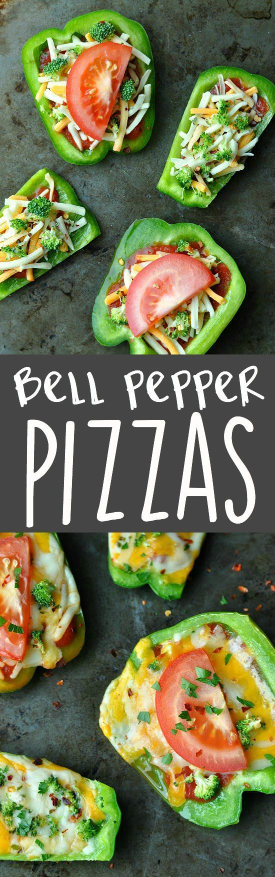 Bell Pepper Pizzas: hand-held veggie pizzas with a healthy twist! These make the perfect appetizer for parties and a great healthy snack or lunch for kids!