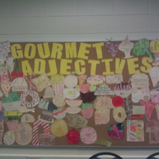 My 6th grade students had to come up with 10 adjectives for any food item and write them inside their drawing.