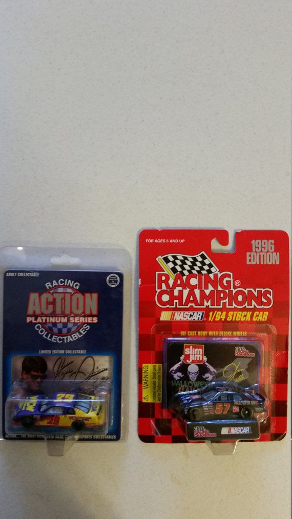 2 nascar collectibles - racing champions #57 & action platinum series 1/64 wcw #29 halloween havoc steve grissom - slim jim diecast monte