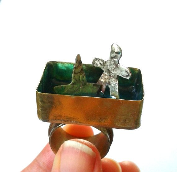 Handmade alpaca and brass ring with blue resin, summer ring, man and the boat ring