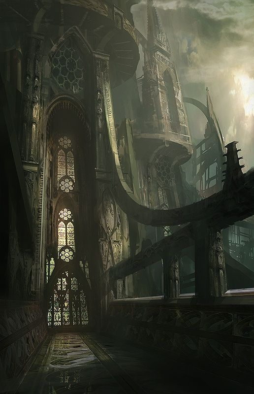 Epic futuristic gothic cathedral illustration by james for Architecture fantastique