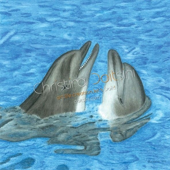 Dolphins. Mixed media drawing: coloured pencils, pastels, pencil, charcoal and chalk
