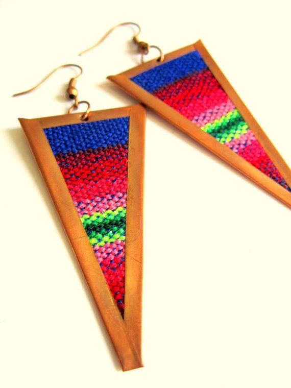 Statement Tribal Copper Earrings Woven by BohemianHooksJewelry