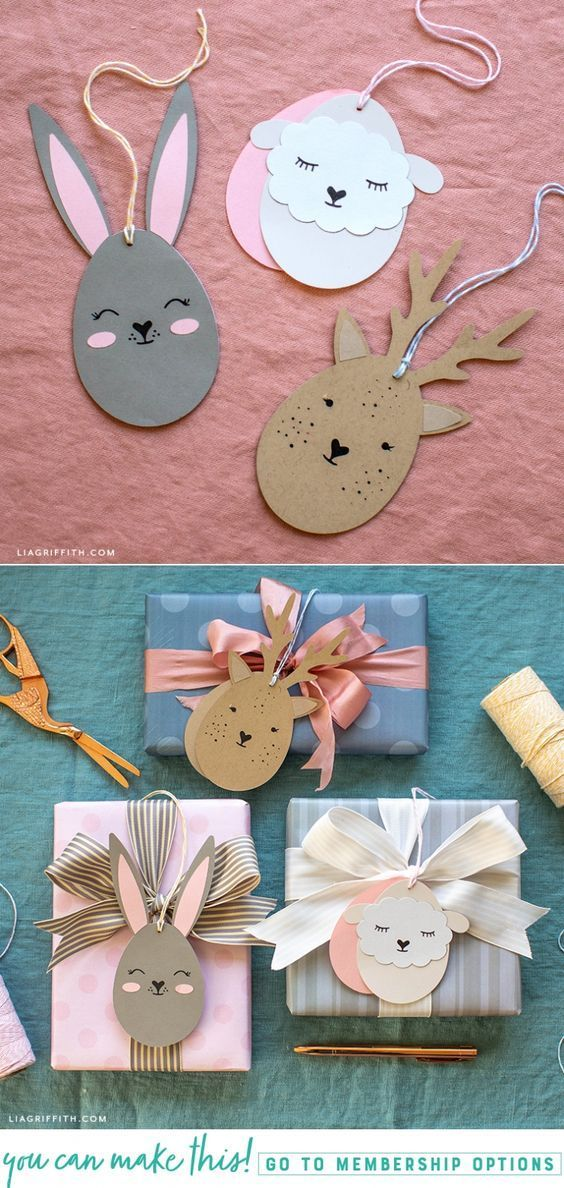 Papercut Easter Egg Animal Gift Tags und Geschenkverpackung