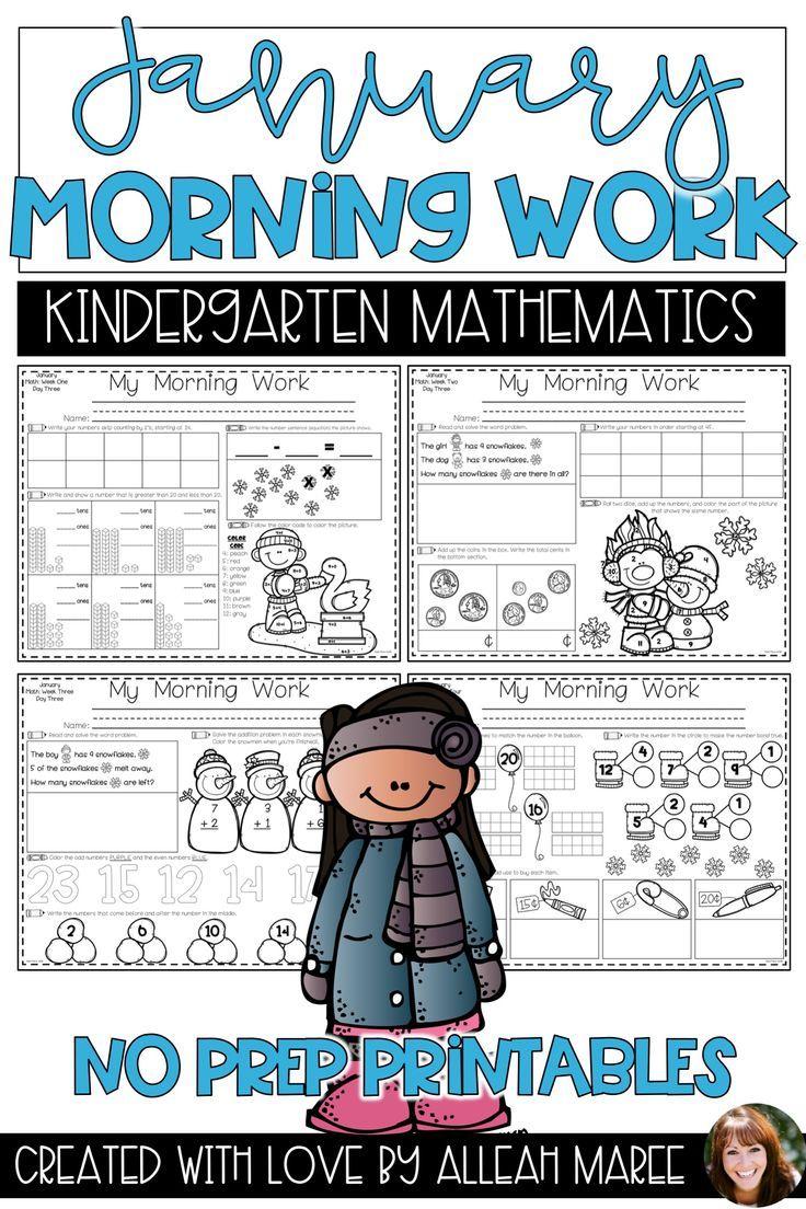 Kindergarten Morning Work Math Worksheets And Printables For January Kindergarten Morning Work Kindergarten Math Activities Math Morning Work [ 1104 x 736 Pixel ]