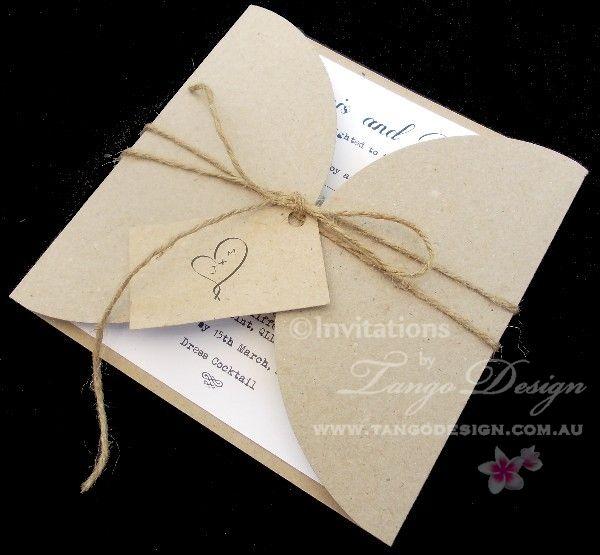 Petal fold rustic invitations by www.tangodesign.com.au #rusticweddinginvitations #twinecord invitations #jutecordinvitations
