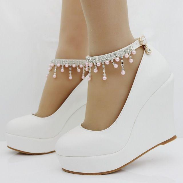 11 см женщины Элегантные каблуки клинья обувь насосы розовый жемчуг и кристалл платформы клинья обувь белый высокие клинья обувь плюс размер 34-41