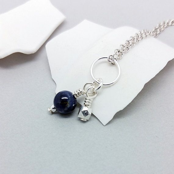 Tiny sapphire charm, deep blue round gemstone, sterling silver accent, natural fifth chakra September Virgo birthstone