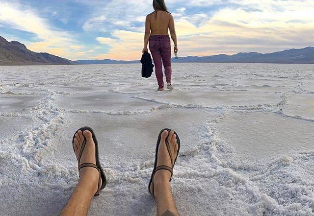 Standing In The Lowest Point In North America At 282 Feet Below Sea Level Repost Via Lauralynallday Deathval Death Valley National Park Earth Sandals Heels