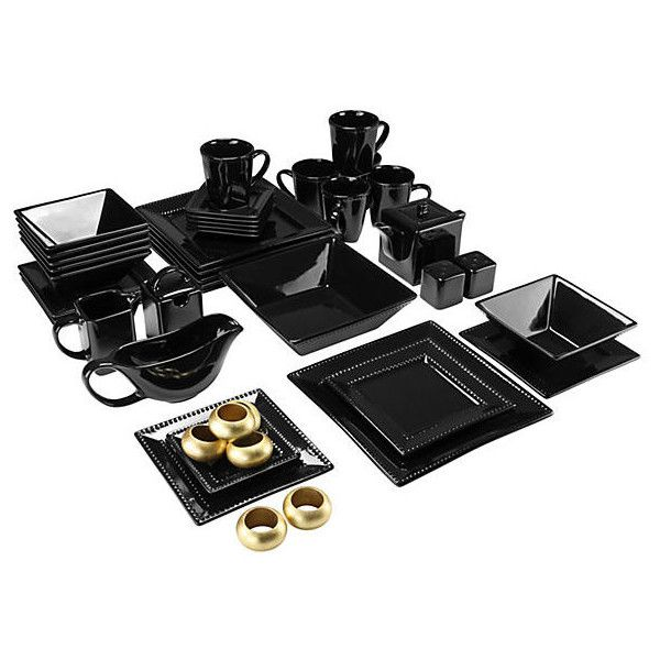 45-Pc Beaded Square Dinner Set Black Place Settings ($175) ❤ liked on Polyvore featuring home, kitchen & dining, black, black dinnerware set, square dinnerware sets, contemporary dinnerware sets, 10 strawberry street and beaded dinnerware set