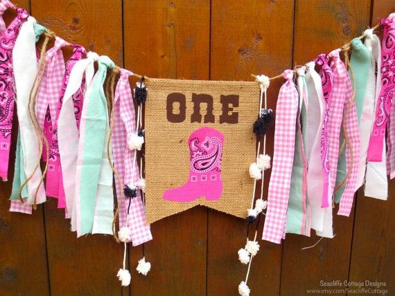 """""""Rodeo Cowgirl Birthday HIGH Highchchair sign"""" made one for my girls 1st bday 2015"""