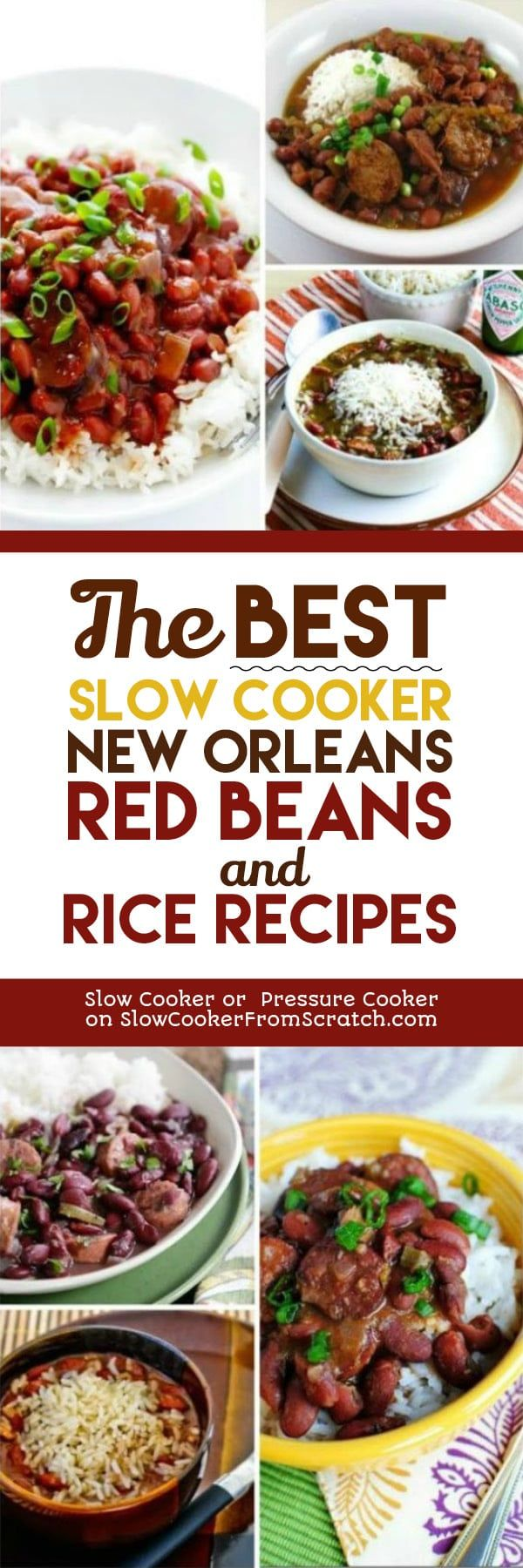 The BEST Slow Cooker New Orleans Red Beans and Rice Recipes featured on Slow Cooker or Pressure Cooker at SlowCookerFromScratch.com
