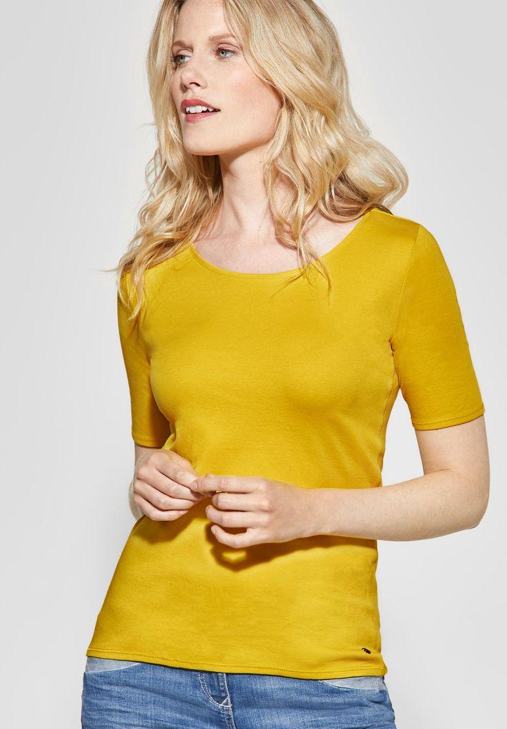 CECIL – Organic Halbarmshirt Lena in Ceylon Yellow