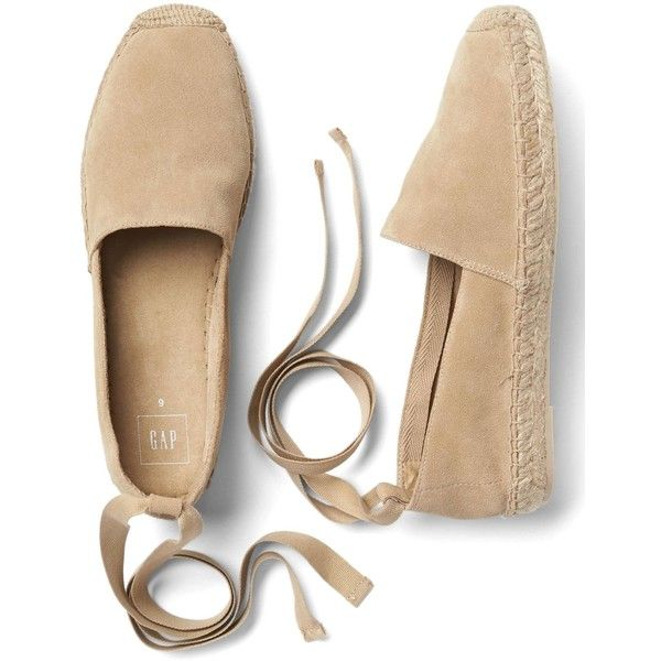 Gap Women Suede Lace Up Espadrilles (185 SAR) ❤ liked on Polyvore featuring shoes, sandals, tie shoes, gap shoes, gap sandals, round cap and suede sandals