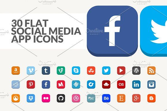 30 Flat Social Media App Icons by Hal Gatewood on @creativemarket