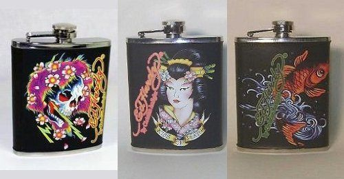 Set of 3 Don Ed Hardy Leather Wrapped Metal Flasks by 3E Design. $29.98. 3 styles include: Beautiful Ghost, Kiss of Death (Geisha) and Koi. Each flask holds 7 oz. Each Flask features artwork from the famed tattoo artist Don Ed Hardy. Each flask is indivually wrapped in it's own box. Set of 3 Leather wrapped metal Flasks. Set of 3 -  7 oz. leather wrapped metal flasks. Each flask is decorated with one of Ed hardy's haunting tatto designs. Styles includes Beautif...