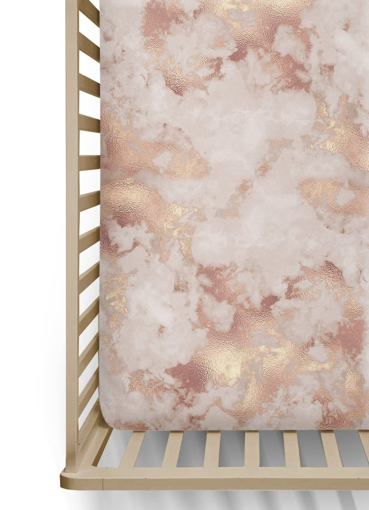 Rose Gold Marble Fitted Crib Sheet, Pink Baby Girl Bedding