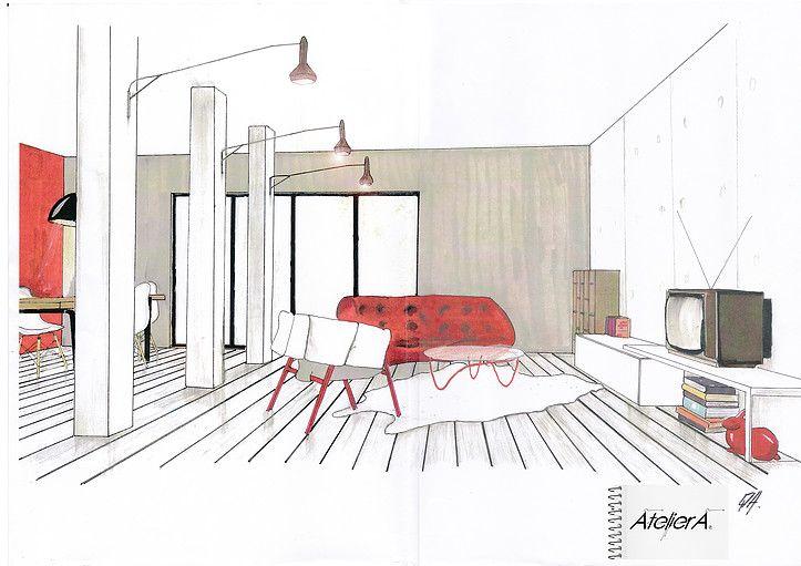 Perspective salon / canapé Ploom / Décoration Intérieur AtelierA Montélimar