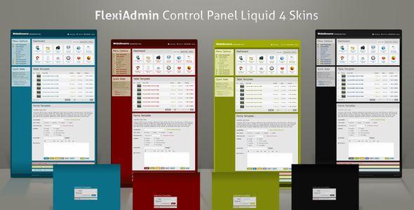 FlexiAdmin Control Panel Liquid 4 Skins - Admin Templates Site Templates - $20