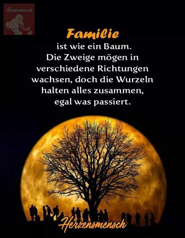 Familie ist wie ein Baum. Die Zweige mögen in verschiedene