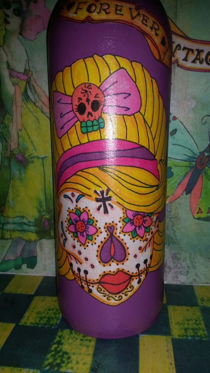 day of the dead decoupage bottle facebook.com/vintagewillowhandmade