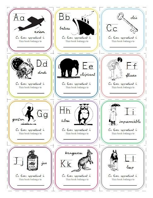 Free French Alphabet Bookplates Printable by eugenia