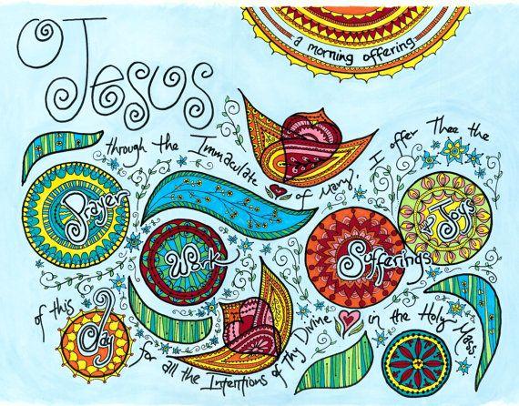 Morning Offering Prayer art print, whimsical, contemporary Catholic art, kitchen or homeschool decor, daily prayer, work, sufferings, joys on Etsy, $30.00