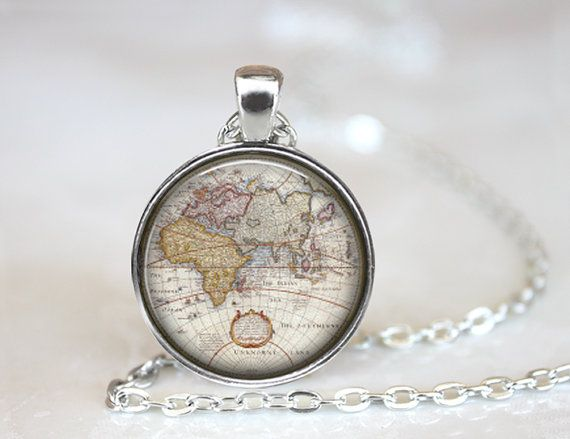 Mejores 7 imgenes de vintage world maps jewelry en pinterest old world map necklace silver 1 circle pendant gumiabroncs Gallery