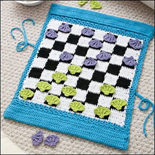 Crocheted Pack & Play Checkerboard by Kristen Stoltzfus  ~ Pretty, handy & FUN!