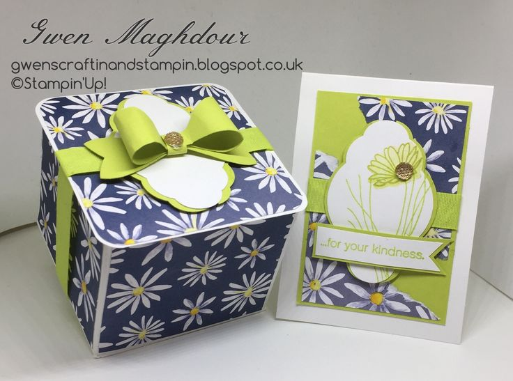 gwenscraftinandstampin Daisy Delight gift box with matching card.