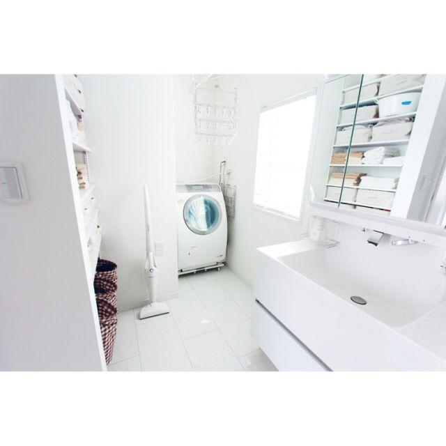 asuさんの、ウッドブラインド,ダイソー,リクシル,収納,洗面台,洗面所,洗面所 収納,洗濯機,無印良品,掃除機,バス/トイレ,のお部屋写真