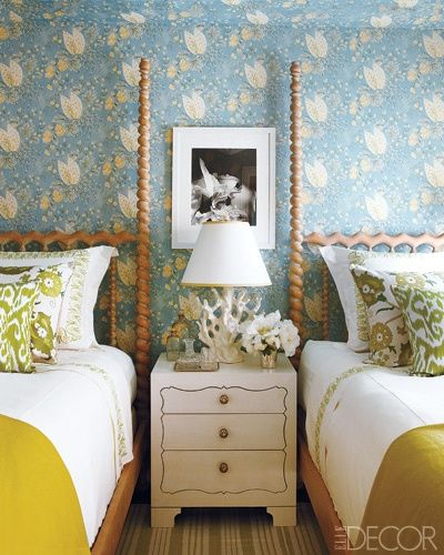 Elle Decor Showhouse   Suzanne Tucker  guest room includes Celery Luce Ikat  and Green Sunder Suzani Pillows by Madeline Weinrib. 65 best Design  The Bedroom images on Pinterest   Girl rooms