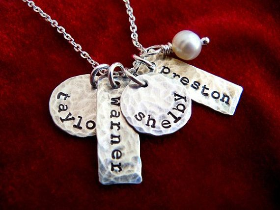 Necklace with Four Kids Names Sterling Silver by OohSoCharming, $48.00