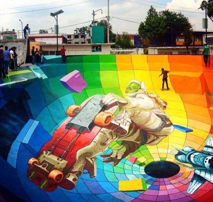 Increíble obra den parque de patinaje creado por el artista urbano Ene en la ciudad de México.