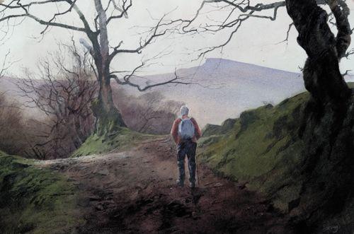 Approaching Pen y Fan, an original watercolour painting by Rob Piercy