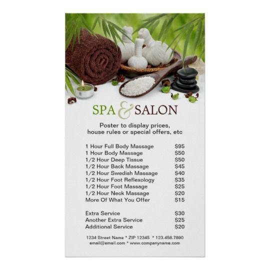 Spa Massage Salon Menu Of Services Poster Zazzle Com Spa Spa