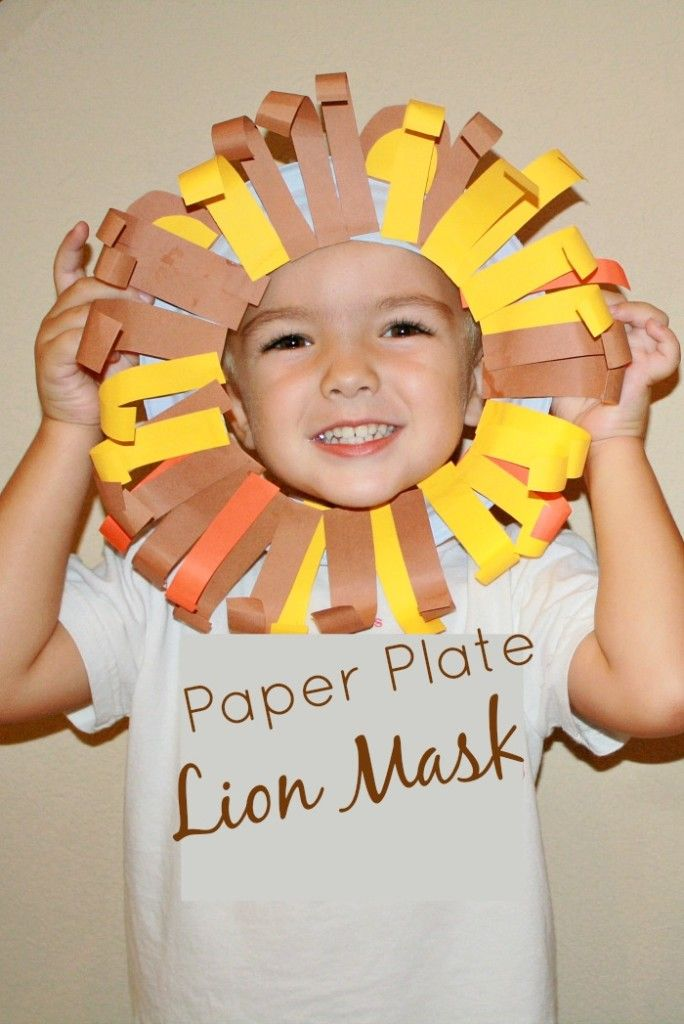 Paper Plate Lion Mask-fun fine motor craft for pretend Play craft for safari…