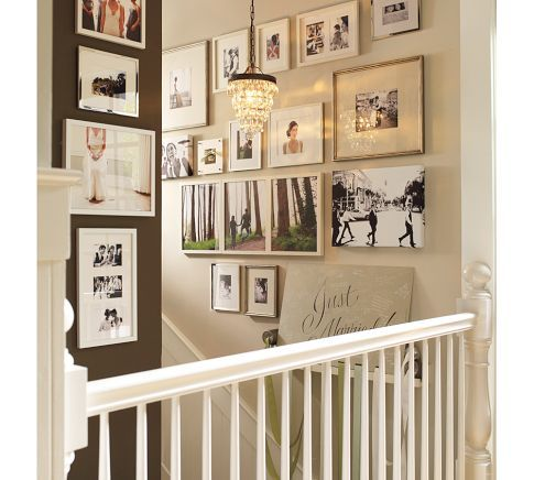 gallery wall - stairsDecor, Ideas, Gallery Walls, Photos Wall, Wedding Wall, Wedding Photos, Pictures Wall, Pottery Barns, Wall Gallery