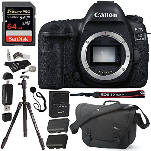 Canon EOS 5D Mark IV DSLR Camera Body 64GB Lowepro Camera Bag Replacement Battery Polaroid Cleaning Kit Card Reader and Accessory Bundle *** Want to know more, click on the image. #DigitalCameras