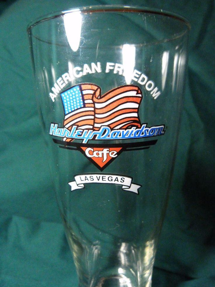 "Harley Davidson Cafe Las Vegas Pilsner Beer Glass 8 1/4"" Tall American Freedom"