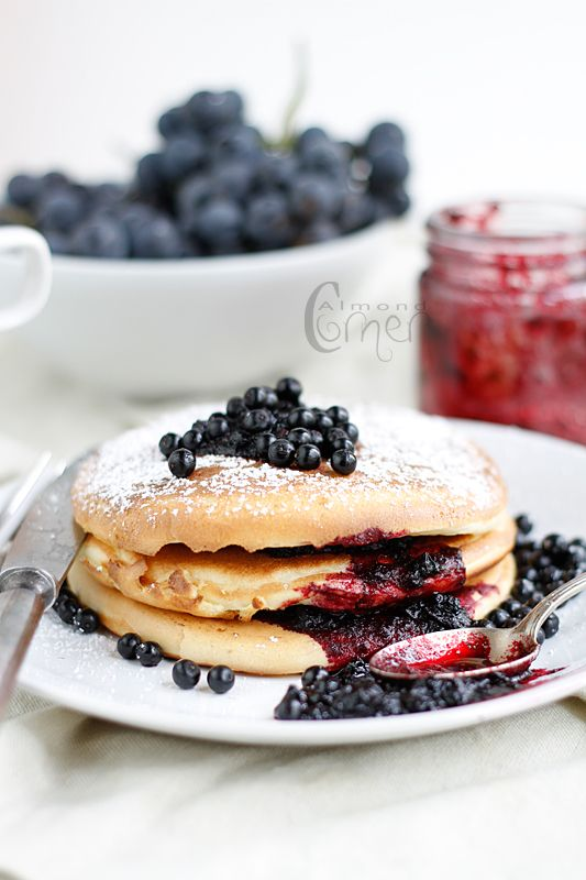 Elderberry Jam on Panacakes ;-) The elderberry helps ward of colds and flu, so eat them all winter to stay well.
