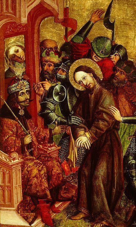 "blueruins:  "" Vlad the Impaler as Pontius Pilate judging Jesus Christ. National Gallery, Ljubljana, 1463.  """