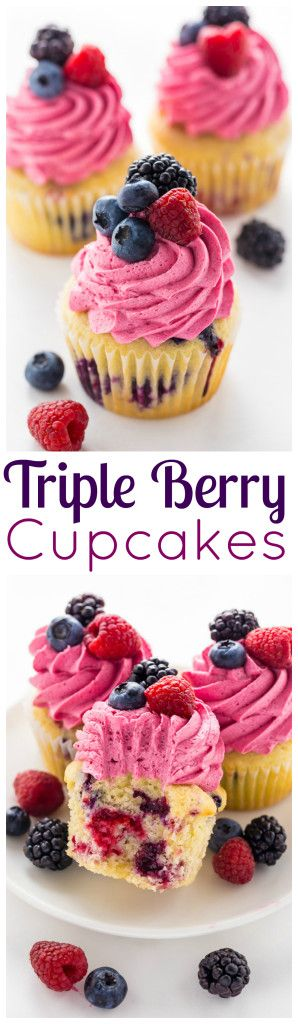 These Triple Berry Cupcakes are moist, fluffy, and bursting with fresh fruit in every bite.