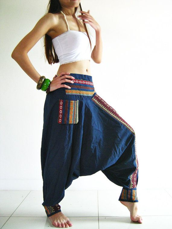 Pants PRN14 Modern Hmong Pirate Gypsy Hippie Tribal Hill Tribe Harem Woman Men Unisex