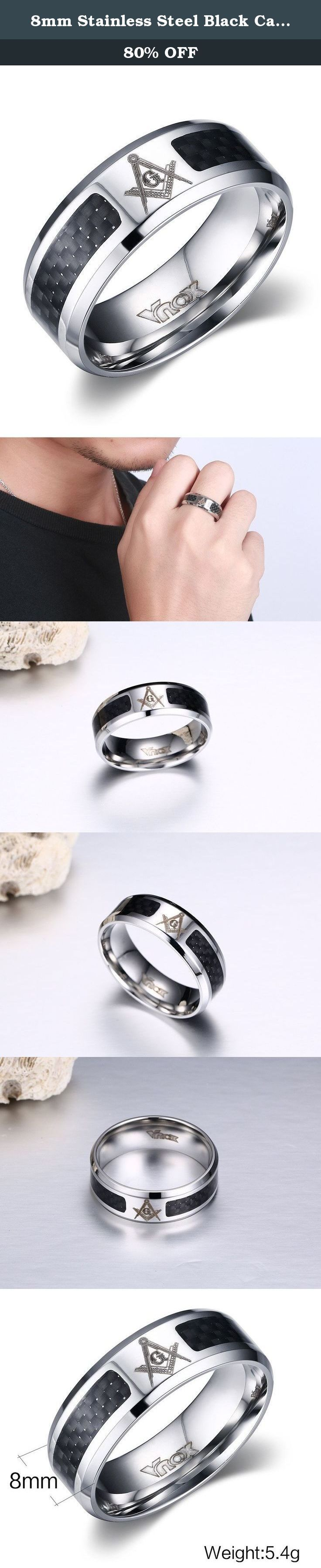 """8mm Stainless Steel Black Carbon Fiber Inlay Masonic Freemason Symbol Wedding Ring Bands. 8mm Stainless Steel Black Carbon Fiber Inlay Masonic Freemason Symbol Wedding Ring Bands About Masonic About Masonic """"Free-Mason"""" Named Free and Accepted Masons,It is a kind of religious Organization with brotherhood,also represented love and charity thought. Our Masonic Jewelry will be a great Masonic gift for the Freemason. Wear it,show your personality and belief. Give it to your friend,show your..."""