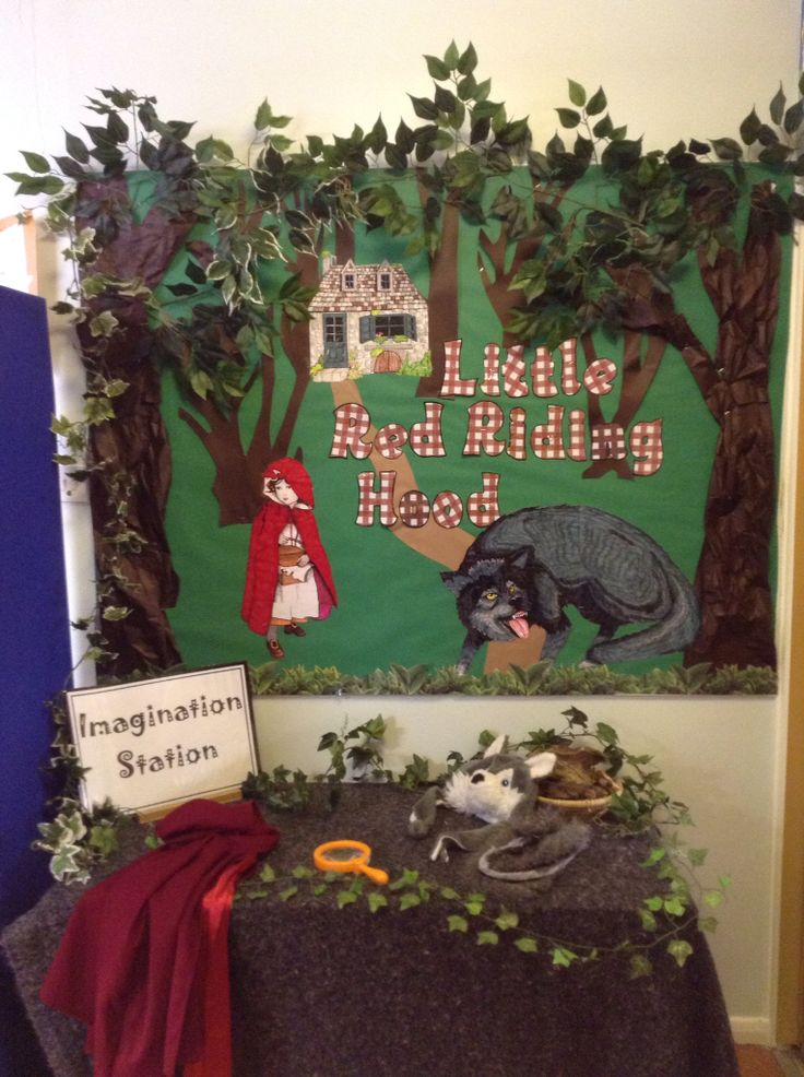 Role play area, little red riding hood year 2 Ledbury Primary school. Display by Nicky Jevon.