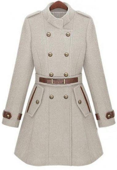 Double Breasted Banded Collar Belt Woolen Coat  Off white woolen coat