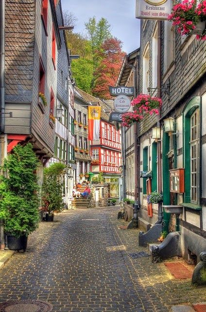 Lovely Streets of Monschau, Eifel, Germany including The brewery museum Felsenkeller - border of Belgium